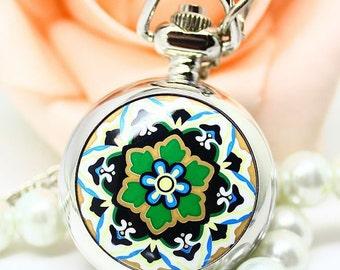 1pcs flower  pocket watch charms pendant    25mmx25mm