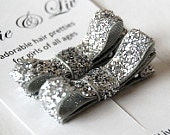 Sparkle Bow - Silver Hair Clips - Tuxedo Bow - Glitter Ribbon - Matching Set of 2 - Toddler to Big Girl Hair Bow
