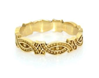 Womens wedding band - Unique wedding band, Vintage wedding ring, Gold ring, Unique gold ring