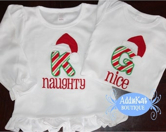 Personalized Christmas Naughty and Nice Matching/Coordinating Sibling Shirts - Brother - Sister - Twins
