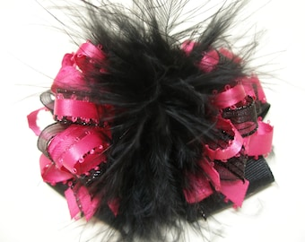 Hot Fuchsia Pink Black Glitz Over the Top Hair Bow Marabou Toddler Girl Pageant Holiday Party Wear