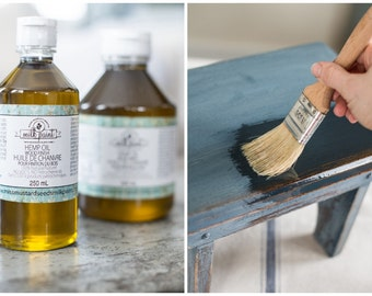 Hemp Oil for Wood - Miss Mustard Seed - Wood Finishing Oil - Paint Top Coat - Hemp Oil for Sale - Furniture Finish - Wood Treatment