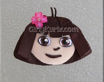 Dora Hair Clip, Dora Hair Bow, Dora the Explorer Hair Bow, Ribbon Sculpture, Dora Clip