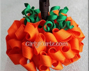 Pumpkin Hair Bow, Halloween Hair Bow, Halloween Hair Clip, Pumpkin Bow, Hair Bow for Girls, Hair Accessories