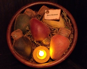 Primitive Christmas Lights Bowl Fillers
