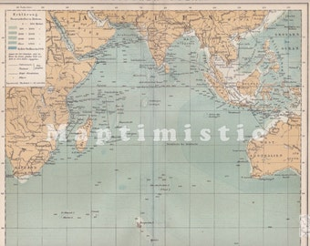 1898 Indian Ocean at the end of the 19th Century Original Antique Map