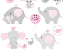 Baby elephants, Cute Clipart elephant - commercial use OK - baby clipart, pink animal clipart, cute character graphics, card making supplies