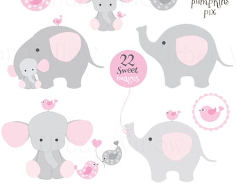 Superior BABY SHOWER ELEPHANTS   Clip Art U0026 Digital Papers Set In Premium Quality  300 Dpi,