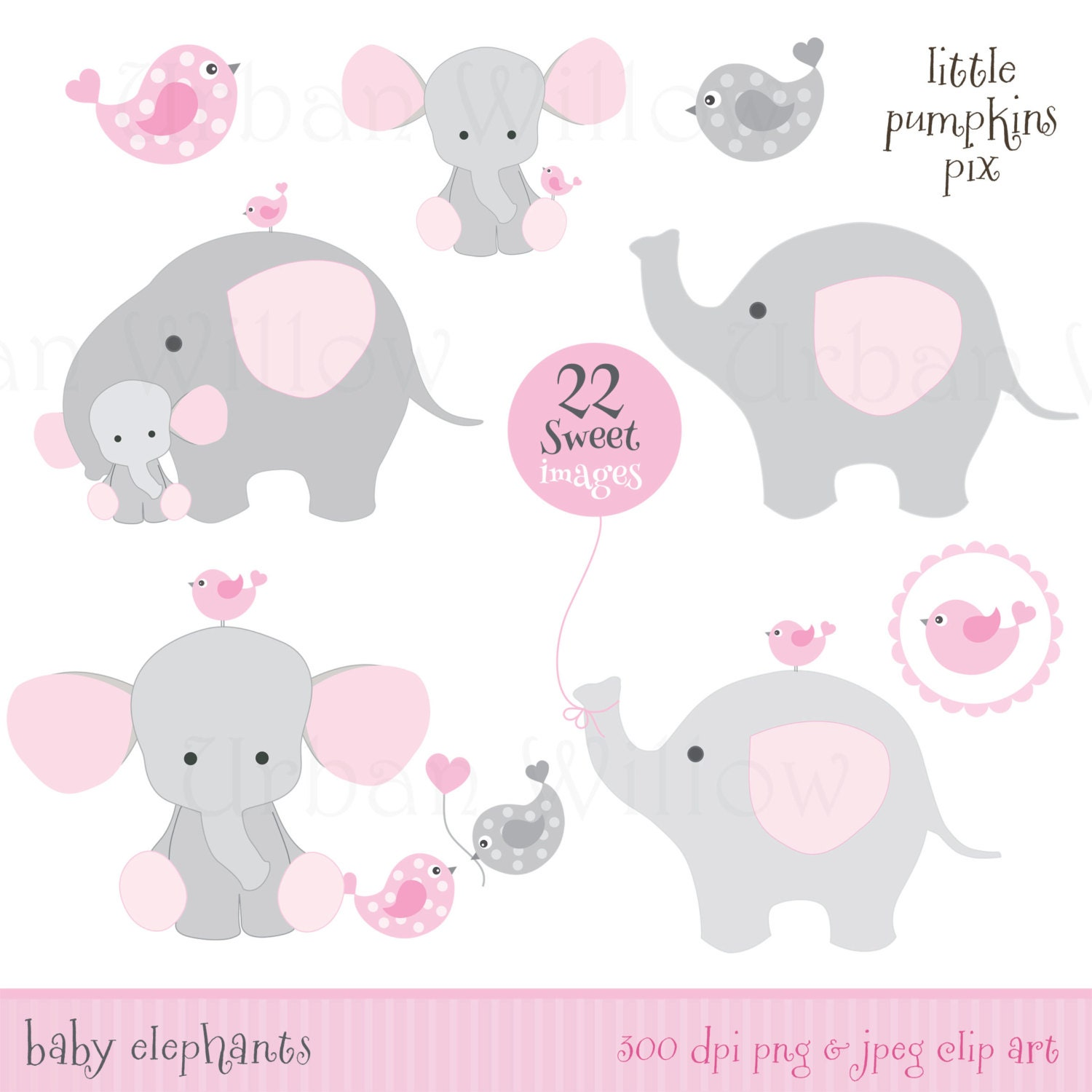 baby shower elephants clip art digital papers set in