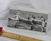 1918 WWI Soldier's Souvenir Postcard Beach Aux Bains Swimsuits Watching a Ship and Some Beach Fun Circa