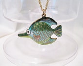 Cloisonne Fish Pendant Necklace On Gold Plated Chain