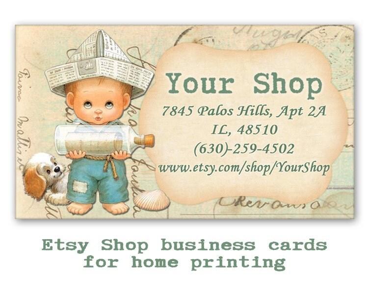 Vintage boy business cards etsy shop business cards on digital for Etsy shop business cards