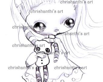 INSTANT DOWNLOAD Digital Digi Stamps..by Chrishanthi's art,My rag bunny.