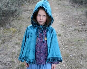 Girls Velvet Capelett ~ child's cape, velvet cape, princess cape, fantasy cape, elf cape, cloak, Halloween, costume, Frozen, Elsa Anna