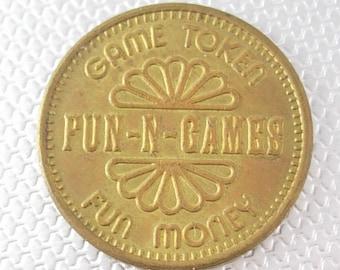 Games Fun Money Brass Token Vintage Fun-N-Games Collectors Arcade Birthday