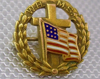 Vintage WHMS Cross American Flag Lapel Pin Wreath Enamel Signed Gold Filled Birthday Collector