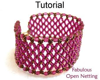 Beading Tutorial Pattern Bracelet - Netting Stitch - Simple Bead Patterns - Fabulous Open Netting #1292