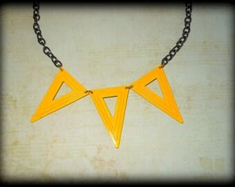SALE! Geometric Silhouette Necklace,Art Deco,Yellow Triangle Necklace,Statement Bib Necklace,Trendy,Boho,Bohemian,Rockstar,Beach,Minimal
