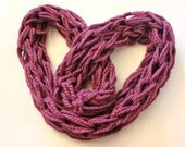 Hand knit Chunky Infinity Scarf, Fig Eternity Scarf, Neck Wrap, Valentine Scarf, Arm knit scarf - Knit2Create