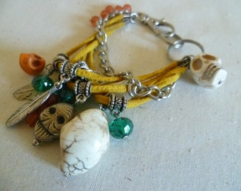 Silver Feathers & Skulls Dangly Bracelet