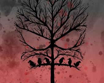 Skull Tree Part 2 Pen Fine Art Print