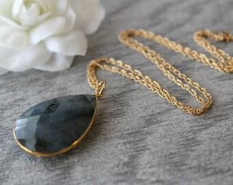 Genuine Flash Labradorite Pendant Necklace, Large Grey Gemstone Pendant, Flash Labradorite Pendant, Gold Filled Chain