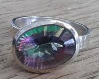 Large Off-Centre Hand-Made Mystic Topaz Vintage Sterling Textured Silver Ring
