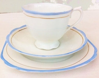 "sale****Royal Albert ""Baby Blue"" Tea Trio"