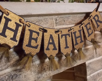 Custom Name Banner in Black and Gold, Embossed Banner with Tulle in Antique Gold and Black, Birthday Banner, Black and Gold Banner