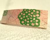Pink Hanji French Barrette Hair Pin OOAK Green Flower Design Stainless Steel Barrette Handmade
