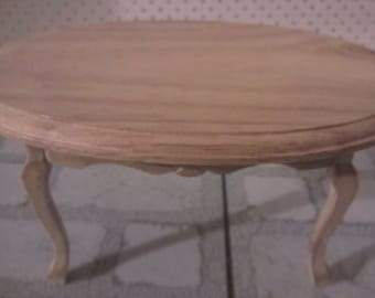 Dolls house miniature dining table in natural wood miniature oveal table