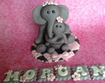 ELEPHANT CAKE TOPPER BAby shower cake topper safari mom and baby Fondant baby shower cake topper safari jungle animal edible cake topper