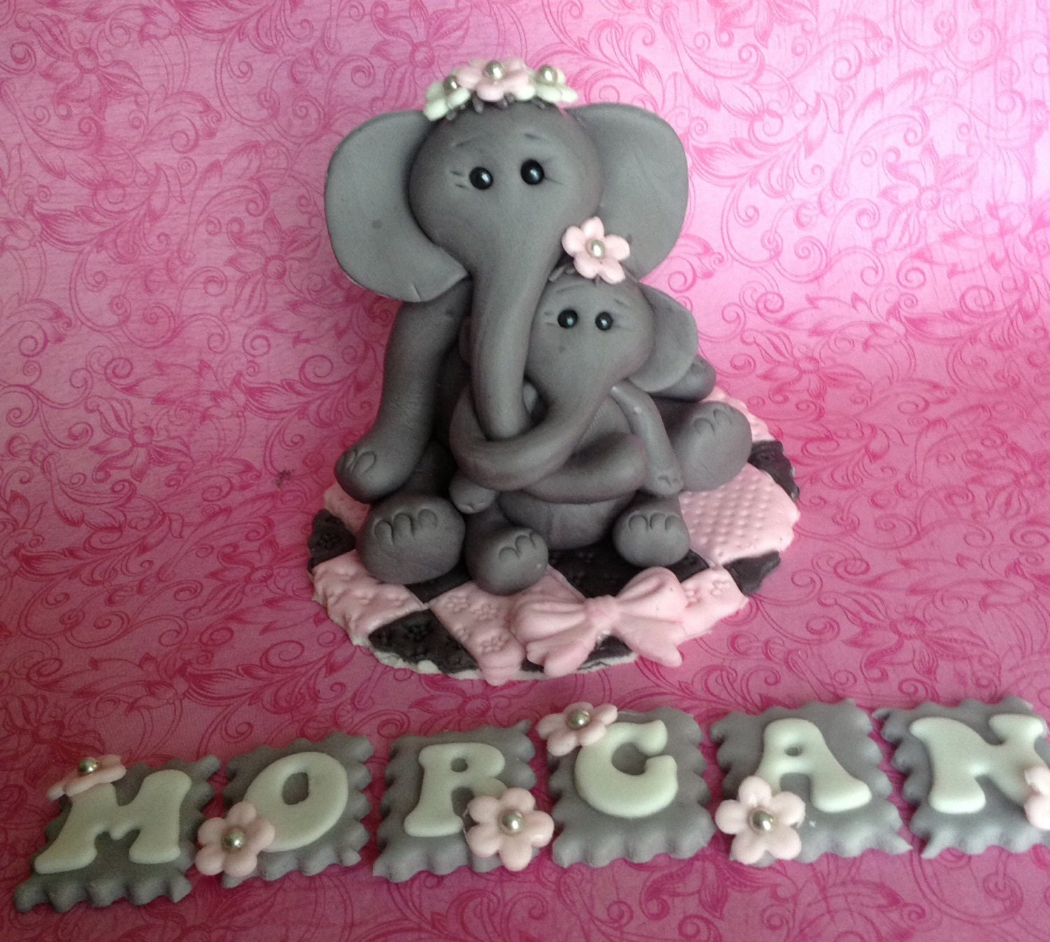 elephant cake topper baby shower cake topper safari mom and