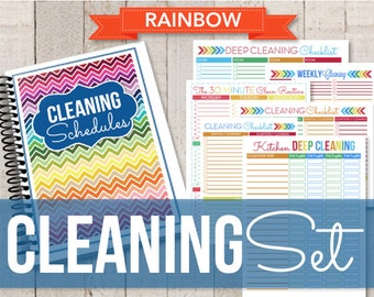 IINSTANT DOWNLOAD-Editable Rainbow Cleaning Printable Set-Home Binder Cleaning Schedules-18 documents