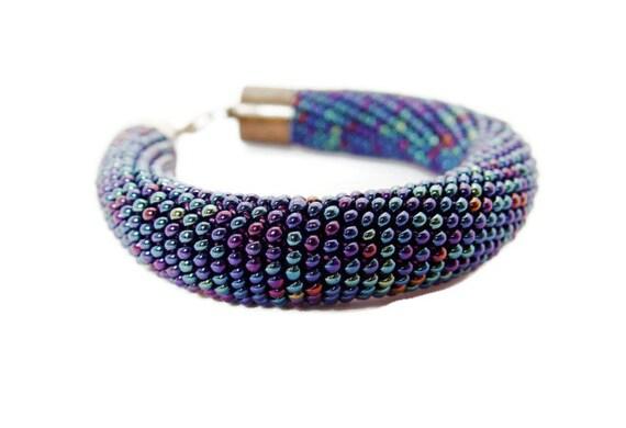 bead crochet rope bracelet. Blue bold bracelet. Beaded multicolor jewelry. Hand crocheted