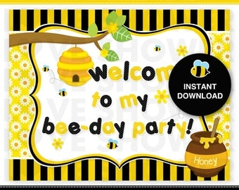 "CUTE BUMBLE BEE  Printable Birthday Party Welcome Sign - Size 8.5"" x 11"" - Instant Download"