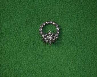 ON SALE   Vintage Rhinestone Circle Pin from the 40s