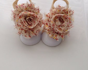 Adorable Floral Print Shabby Chic Chiffon Baby Barefoot Sandals. Newborn Baby Girl Barefoot Sandals, Baby Girl Barefoot Sandals