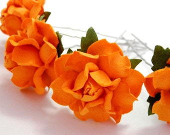 Bright Orange Rose Floral Hair Pin Set/ Alternative/ Bridal/ Wedding Hair Accessories/ Bridesmaid Hair Pin/ Wedding Flower Pins