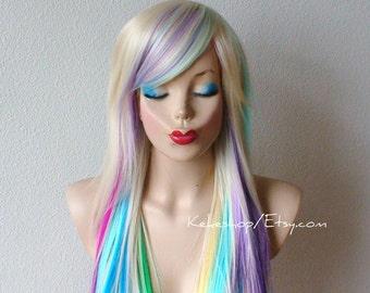 . Blonde Haare Re genbogen Ombre Perücke. Pastell Rosa Lavendel ...