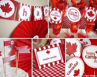 Canada Day Party Printables Collection Instant Download Digital PDF Files