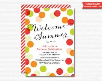 Summer Party Invitation Summer Invitation Printable Invitation Polka Dots BBQ Invitation Barbeque Invitation Summer Celebration Summer Party