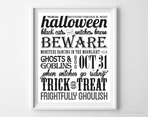 Halloween Wall Art instant download halloween subway art typography printable wall