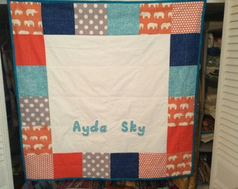 Custom Baby Quilt with TWO Names- Personalized Baby Quilt-Baby Quilt- Quilt with Name- Name Quilt- Handmade Quilt