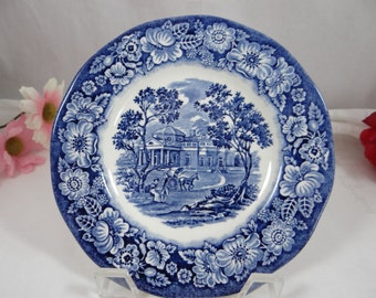 Liberty Blue Monticello Blue and White Bread and Butter Plate