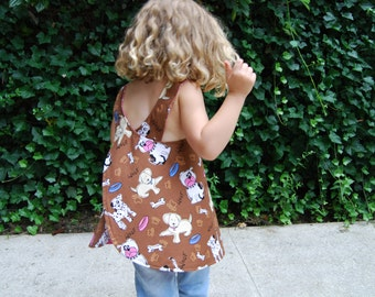 Reversible Puppy and Pink Dot Pinafore Dress or Top 3T