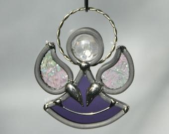 Stained Glass Purple Angel Sun Catcher, February Birthstone Amethyst Guardian Angel