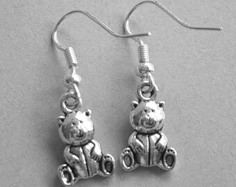 Silvertone Teddy Bear Earrings
