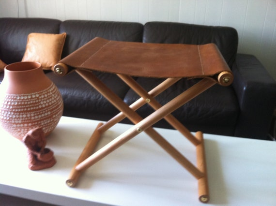 Handmade Folding Leather Camp Stool