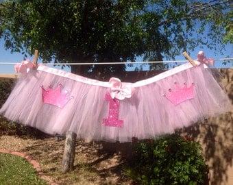 Pretty pretty Princess Sparkle Highchair Tutu Decoration--CUSTOMIZABLE-- FREE SHIPPING